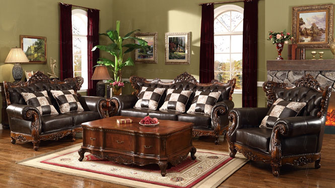 美式古典进口头层牛皮沙发组合 欧式高端别墅家具OM128