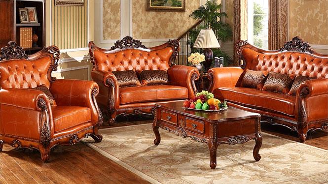 进口头层真皮欧式沙发组合 金黄色牛皮实木美式沙发OM127