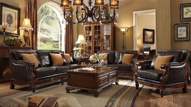 全实木沙发组合欧式沙发美式沙发真皮沙发 美式实木家具S030#