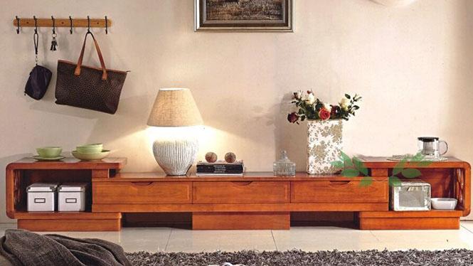 橡胶木拉伸地柜 多功能地柜 客厅全实木地柜 客厅电视柜2203#