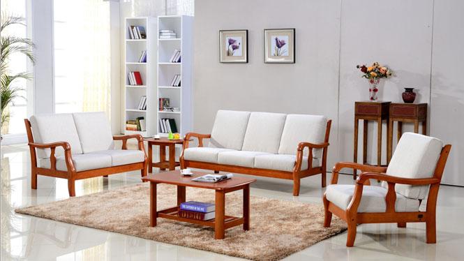 客厅沙发组合 简约纯实木优质沙发组合 实木沙发组合319#