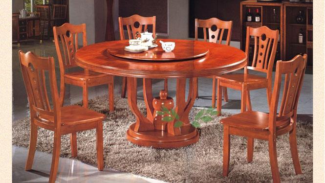 实木餐台 现代中式实木餐台 客厅实木圆桌餐台 圆形餐桌830#