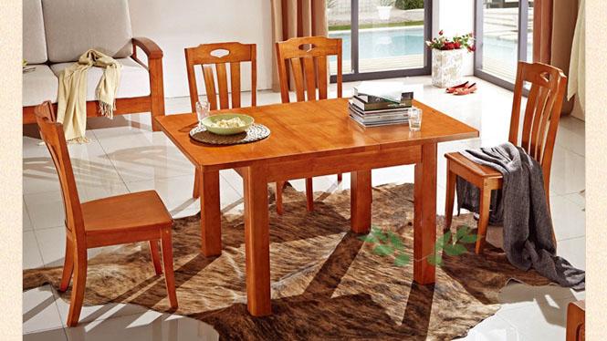 现代中式折叠纯实木拉台 客厅可伸缩餐桌 实木跳台861#