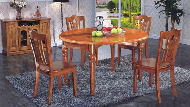现代中式圆桌餐台 全实木可拉伸缩餐台精致实木转台832#