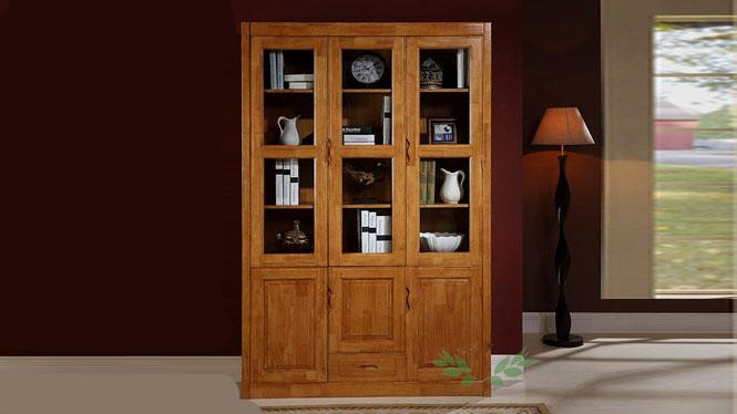 优质实木书柜 现代简易书柜 多功能中式全实木书柜705#