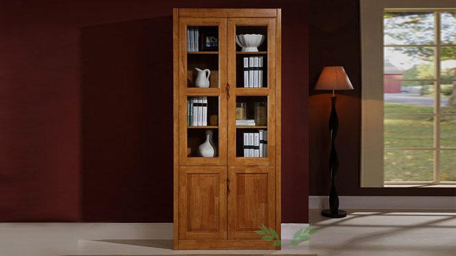 新款实木书柜 全实木书柜 现代书房双门书柜707#