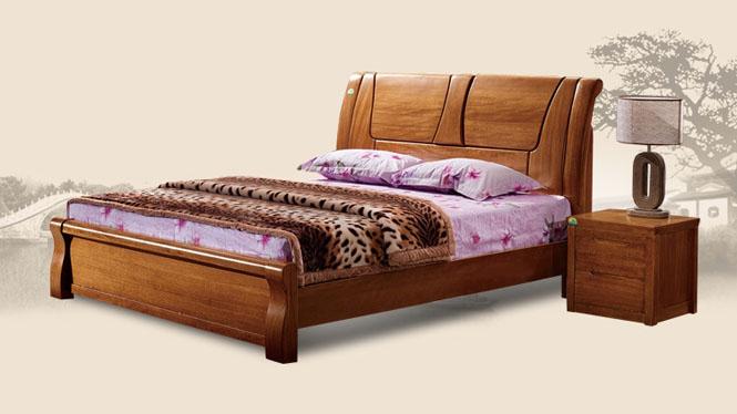 现代中式1.8米实木床胡桃木双人床 实木家具T308