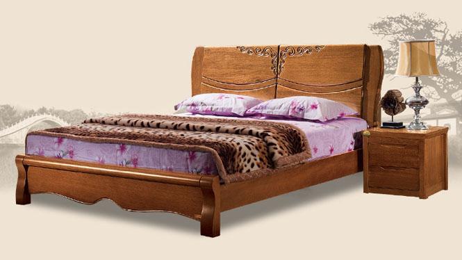 现代中式1.8米1.5米全实木床胡桃木高端婚床家具T302