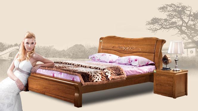 实木床 双人床 高档全实木家具 现代新中式 1.8米大床T312