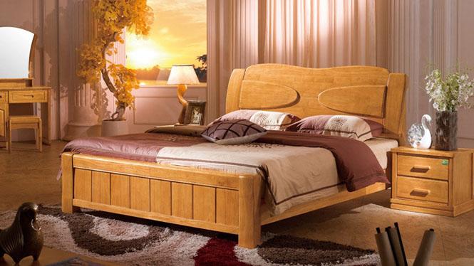 实木床 木床新中式家具床实木高箱床 1.8米床双人床木床F2888