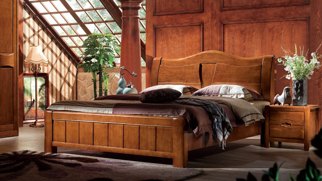 全实木双人床胡桃木高端中式婚床带储物高箱床T309
