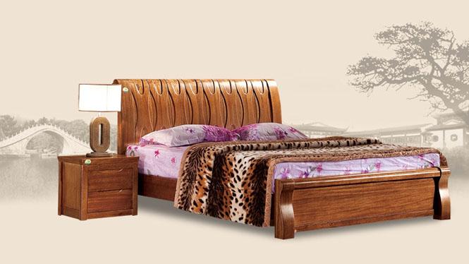 进口胡桃木全实木双人床1.8米现代中式纯木床储物床T203