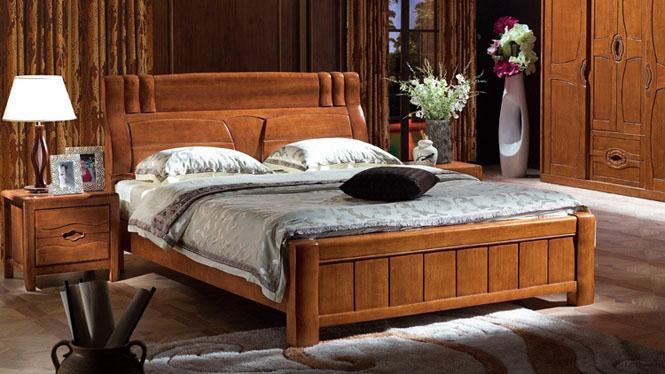 1.8米双人床 1.8m全实木床 高箱储物床 新中式风格床F2899