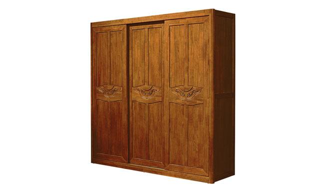 全实木衣柜 实用衣柜 卧室套房系列 三门推拉衣柜F923