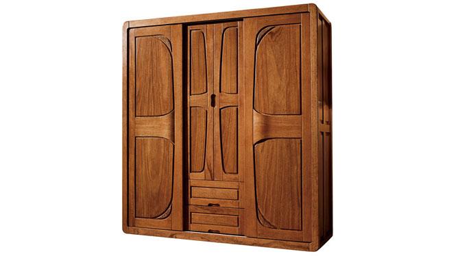 中式实木胡桃全四门推拉衣柜 卧室成套家具T806