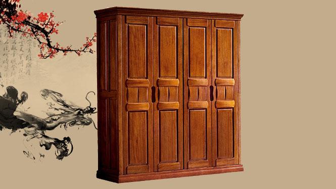 胡桃木衣柜 全实木四门五门环保衣柜 高档实木家具T802