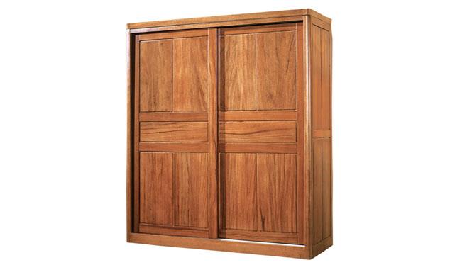 中式全实木衣柜胡桃木2门趟门推拉门衣柜 优质卧室家具T803