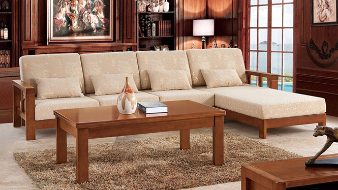 现代新中式全实木沙发 木配布L型转角沙发茶几组合 仿古实木沙发F9805