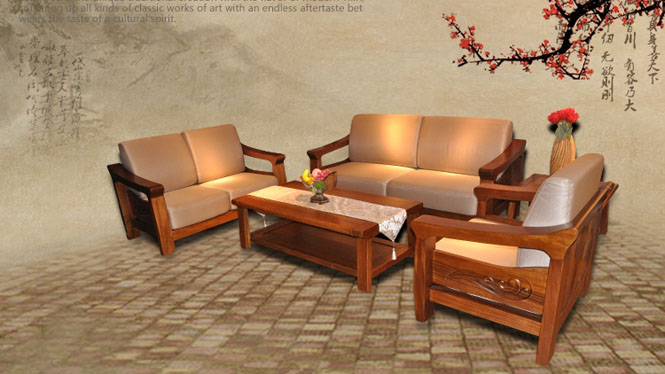 进口胡桃木沙发123茶几 全实木组合型家具T329