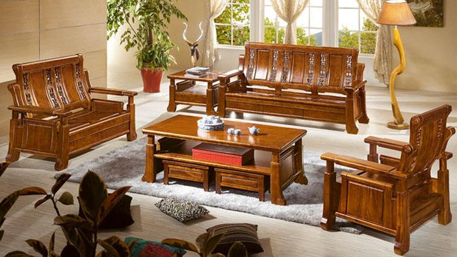 中式全实木原木沙发 名贵香樟木沙发 1+2+3沙发茶几组合客厅家具F869