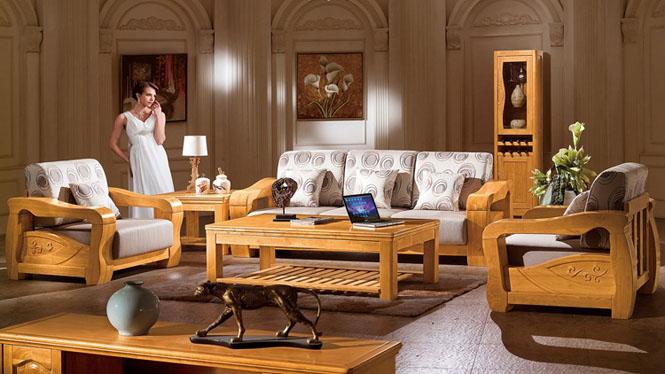 新中式全实木沙发1+2+3布艺沙发配茶几 高档别墅家具休闲创意沙发F3063