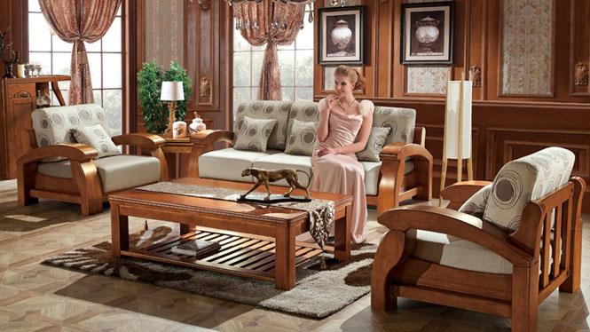 现代中式全实木沙发木 1+2+3沙发茶几组合 客厅家具 沙发茶几定制F3061