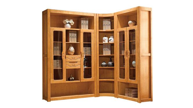 新中式实木组合书柜 进口橡木书台书椅组合书房成套家具F606