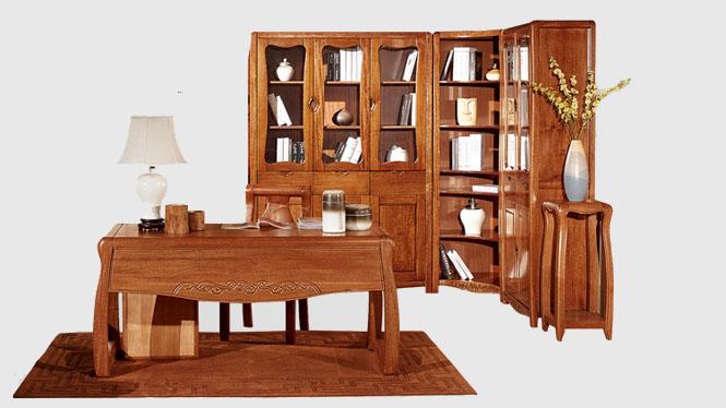 胡桃木书柜桌椅 现代中式书房家具 实木书架S203