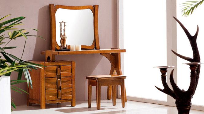 全实木胡桃木化妆台 卧室化妆桌椅组合 卧室家具T902
