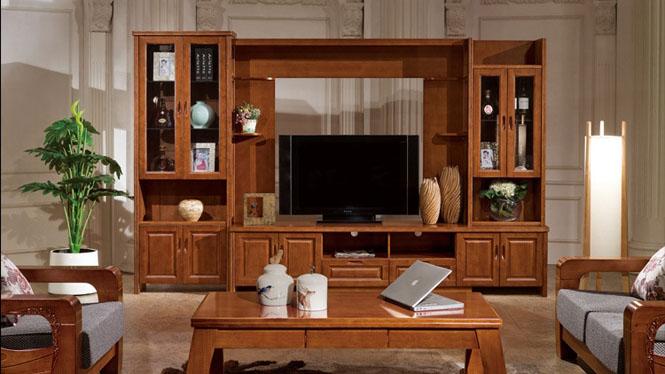 特大3M 3米全实木影视墙柜 客厅超大电视组合厅柜F605