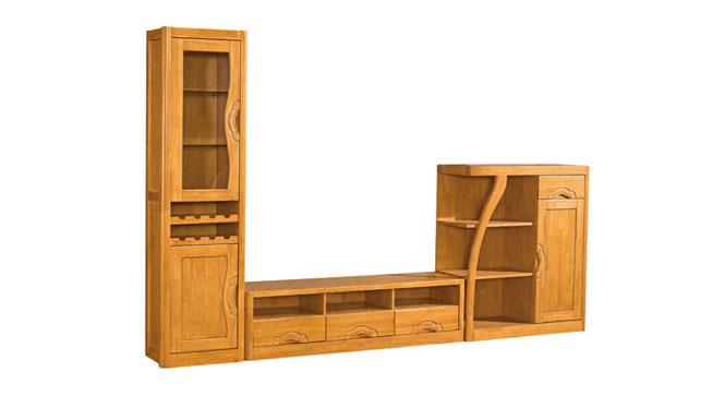高矮酒柜电视柜组合 客厅全实木视听柜组合厅柜电视墙F103