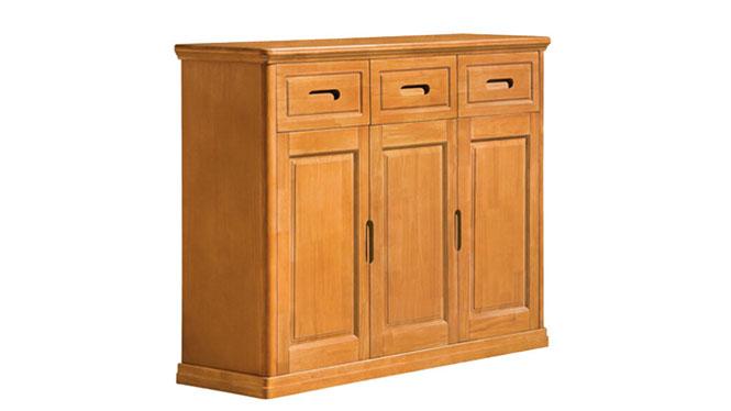 中式全实木家具 推拉式三门鞋柜 储物柜 收纳柜F503