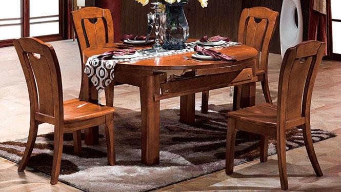 全实木餐台 高档多功能餐桌 餐厅餐桌椅组合 圆餐桌变身方餐桌F822
