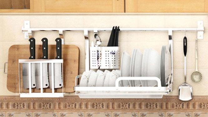304不锈钢厨房置物架壁挂沥水架折叠碗碟架盘架筷子笼 套餐三
