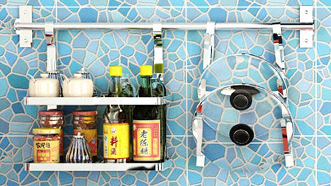 304不锈钢厨房置物架壁挂沥水架折叠碗碟架盘架筷子笼 套餐五