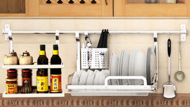 304不锈钢厨房置物架壁挂沥水架折叠碗碟架盘架筷子笼 套餐十