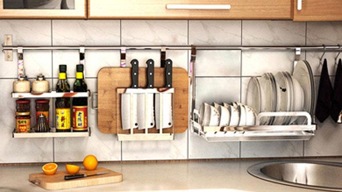 304不锈钢厨房置物架壁挂沥水架折叠碗碟架盘架筷子笼 套餐十五