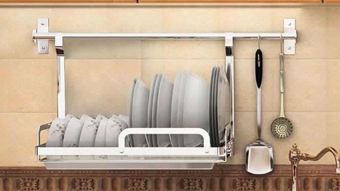 304不锈钢厨房置物架壁挂沥水架折叠碗碟架盘架筷子笼 套餐十四
