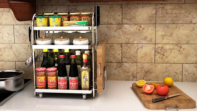 304不锈钢厨房置物架调料调味架子收纳储物架落地厨房用品台面调味架