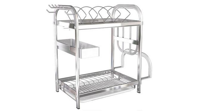 304不锈钢双层置物架收纳架台面碗碟架沥水架碗架盘架台面碗碟架
