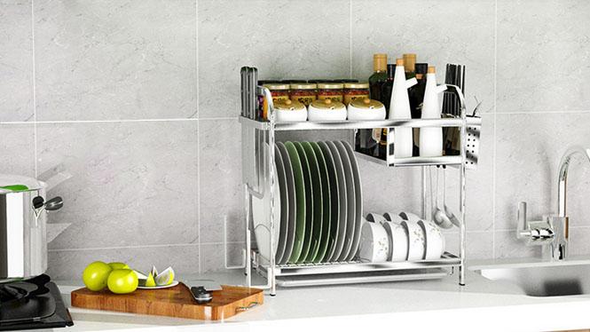双层不锈钢厨房置物架沥水碗架碗盘调料调味架收纳架子多功能置物架