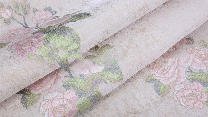 仿刺绣欧式无缝墙布 中式牡丹花朵 温馨卧室壁布FX-F