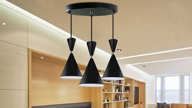现代个性简约家用酒杯单头吊灯餐厅吧台三头黑色铝材吊灯D56