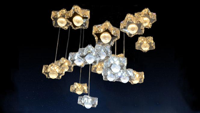 不锈钢led水晶灯具月亮星星客厅卧室餐厅新款吊灯MD600-满天星