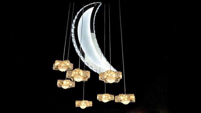 不锈钢led水晶灯具月亮星星客厅卧室餐厅新款吊灯MD0540-七星伴月