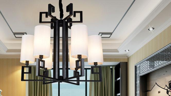 新中式吊灯 简约仿古复古铁艺酒店书房客厅吊灯6头3头8头D1024