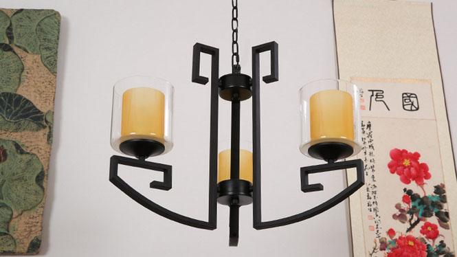 新中式仿古吊灯现代简约酒店茶楼工程布艺灯复古卧室餐厅铁艺灯具3头6头8头D1021