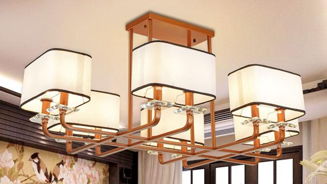 新中式吊灯客厅铁艺餐厅吊灯创意简约长方形仿古中式灯具12头6头8头D1009