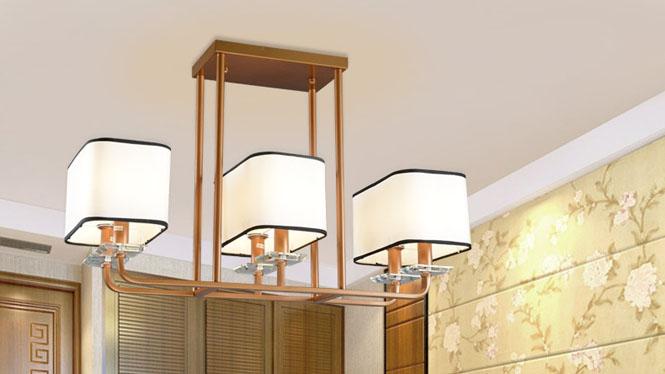 新中式吊灯客厅铁艺餐厅吊灯创意简约长方形仿古中式灯具6头8头12头D1009
