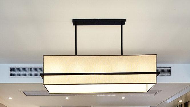 新中式吊灯 现代简约长方形餐厅灯客厅灯具酒店茶楼会所灯具4头5头6头AP-081